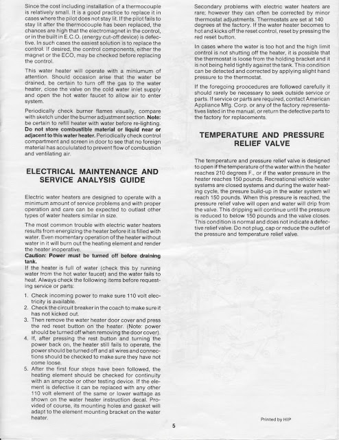 1983 Fleetwood Pace Arrow Owners Manuals: Mor-flo water